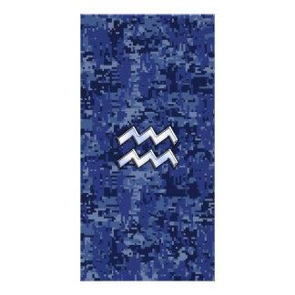 Aquarius Zodiac Symbol on navy blue digital camo Customised Photo Card