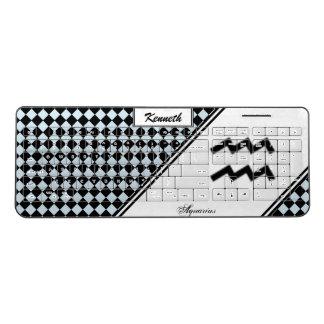 Aquarius Zodiac Symbol Standard by Kenneth Yoncich Wireless Keyboard