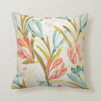 Aquatic Crocus Lila Mint Pearly  Orchidea Flowers Throw Pillow