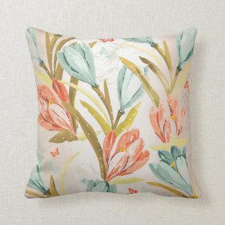 Aquatic Crocus Lila Peach Pastel Orchidea Flowers Cushion