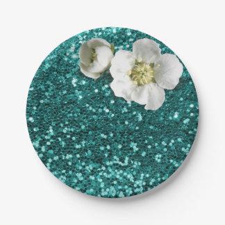 Aquatic Emerald Floral White Jasmine Glitter Paper Plate