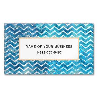 Aquatic Fantasy Blue and Aqua Chevron ZigZags Magnetic Business Card