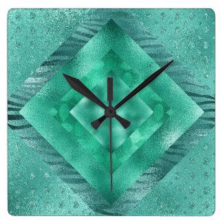Aquatic Jungle Blue Glitter Clock Square