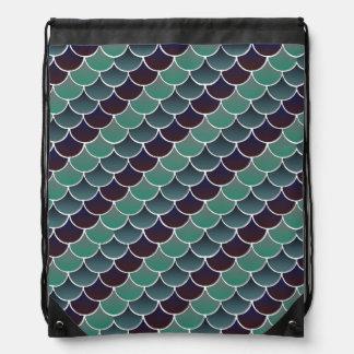 Aquatic Scales Drawstring Bag