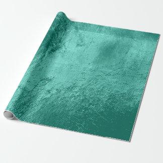 Aquatic Tiffany  Blue Aqua Metallic Leather Urban Wrapping Paper