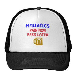 Aquatics pain now beer later hats