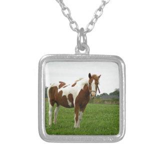 Aquebogue Painted Horse Square Pendant Necklace