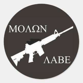 AR-15 Molon Labe Round Sticker