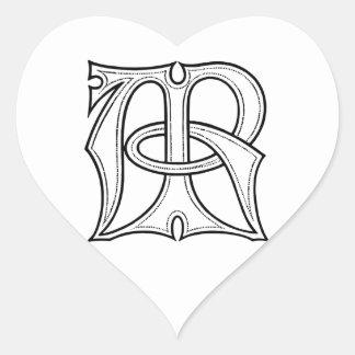 AR Gothic Monogram Heart Sticker
