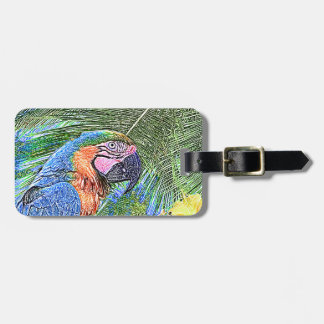 Ara parrot luggage tag