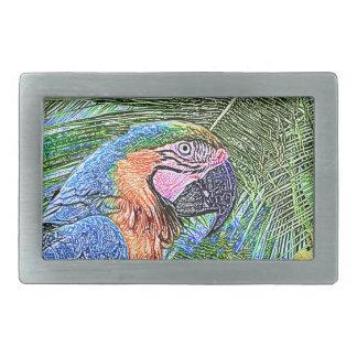 Ara parrot rectangular belt buckle