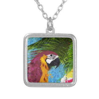 Ara parrot silver plated necklace