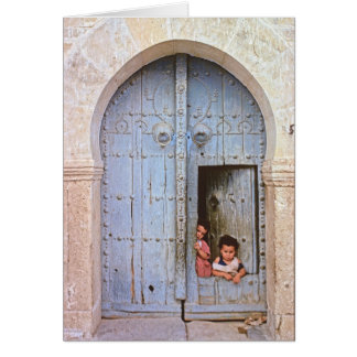 Arab children in Tunis Medina Card