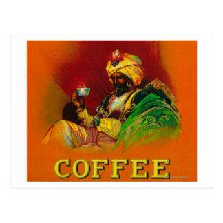 Arab Man Coffee Label Postcard