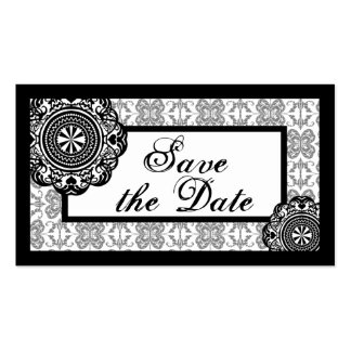 Arabesque Black Lace, save the date mini cards Business Card Template