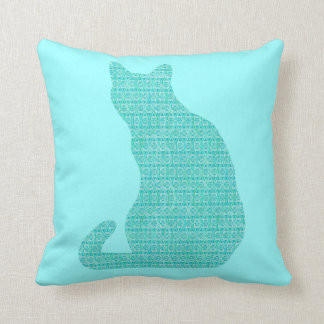 Arabesque Cat - shades of turquoise Throw Pillow