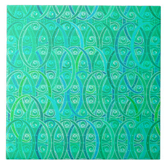 Arabesque Damask - Aqua and Turquoise Ceramic Tile
