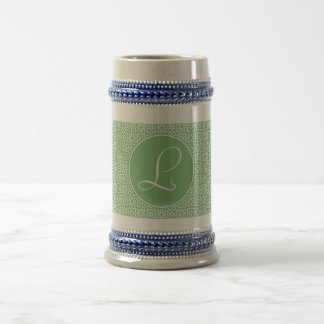 Arabesque elegant Monograma of linear green color Beer Stein