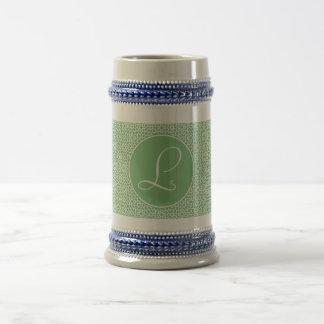 Arabesque elegant Monograma of linear green color Mugs