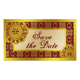 Arabesque Gold Lace, save the date mini Business Card Template