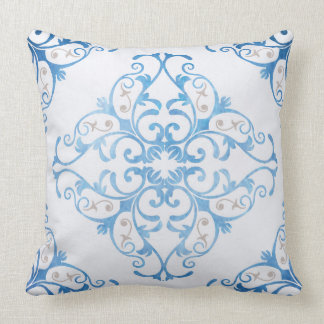 Arabesque in watercolor blue cushion
