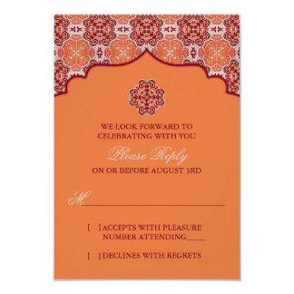 Arabesque Orange Red Indian Wedding RSVP Reply 9 Cm X 13 Cm Invitation Card