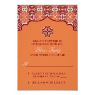 Arabesque Orange Red Indian Wedding RSVP Reply Card