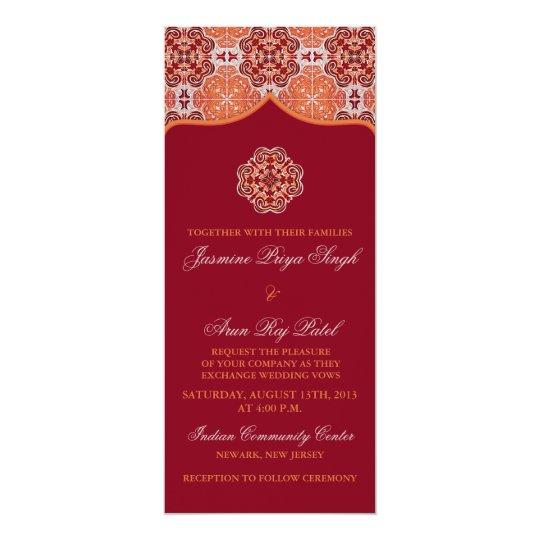 Arabesque Orange Red Indian Wedding Tea Length Card
