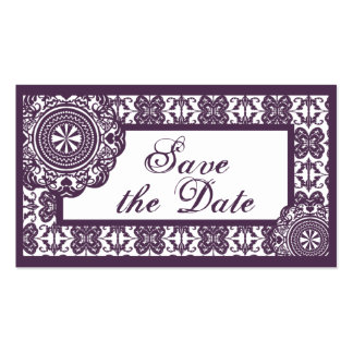 Arabesque Purple Lace, mini save the date Business Cards
