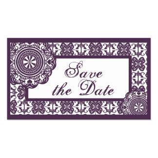 Arabesque Purple Lace, mini save the date Business Cards