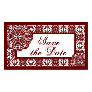 Arabesque Red Lace, save the date mini Business Card Templates