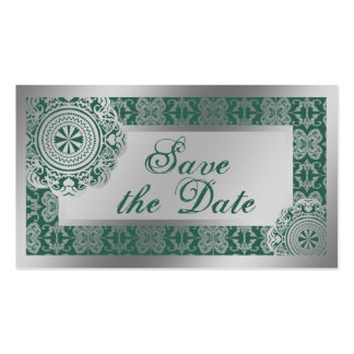 Arabesque Silver Lace, save the date mini Business Card