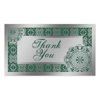 Arabesque Silver Lace, thank you mini cards Business Card Template