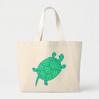 Arabesque swirl turtle - shades of seafoam green large tote bag