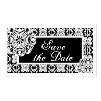 Arabesque White Lace, save the date mini Business Card Templates