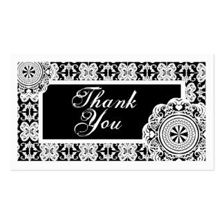 Arabesque White Lace, thank you mini cards Business Cards