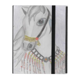 Arabian Horse in Indian Costume in Color Pencil iPad Folio Case