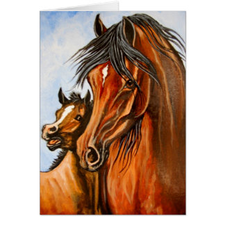 Arabian Mare and Foal Greeting Card