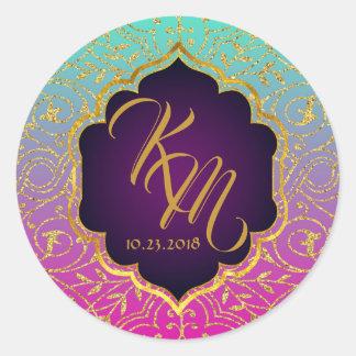 Arabian Nights Bollywood Monogram Wedding Label