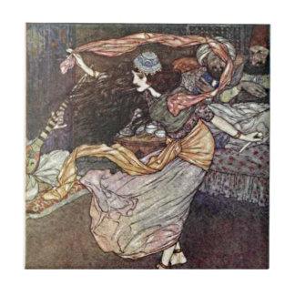 Arabian Nights Dancing Girl with Scarves Illustrat Tile
