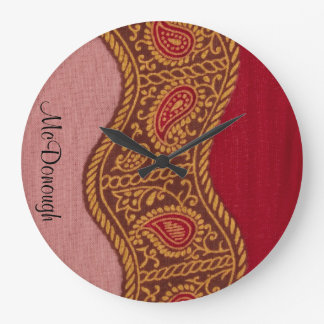 Arabian Nights in Red and Gold Large Clock