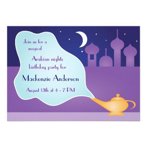 Arabian Nights Magic Lamp Birthday Party Custom Invite