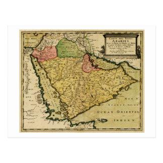 Arabian Peninsula of the Middle East Map Postcard