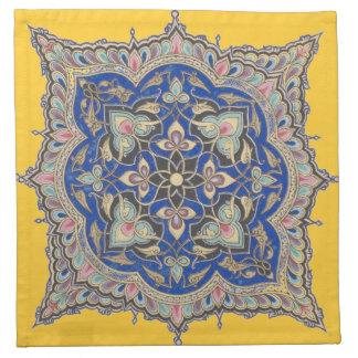 Arabic Blue Design Napkin Antique Middle Eastern