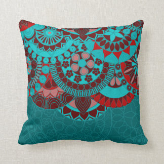Arabic blue ornate background cushion