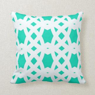 Arabic Lattice in Aqua Cushion