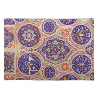 Arabic Middle Eastern Blue Rosetttes Vintage Place Mats