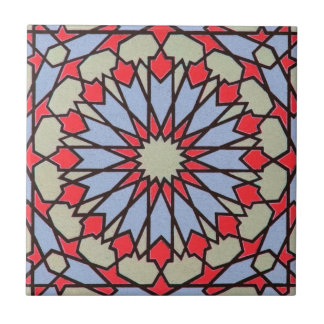 Arabic Middle Eastern Tile Geometric Red Blue