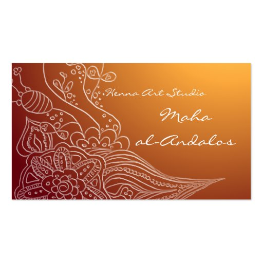 Arabic oriental henna style business card zazzle for Henna business cards