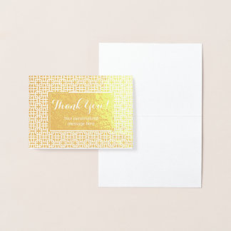 Arabic Personalized Real Gold Foil Thank you Foil Card
